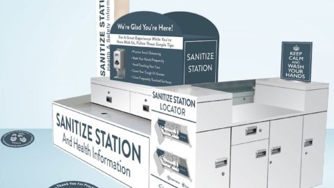 Sanitation station rendering courtesy of FASTSIGNS