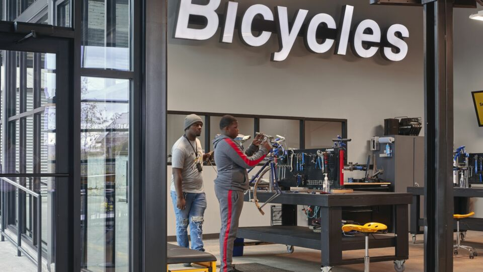 The phase one refurbishment includes a new, open floor work area, where stations are set up in rows six feet apart. The basement that once housed all workstations will be transformed into a bicycle intake center for all donated bicycles used in the program.