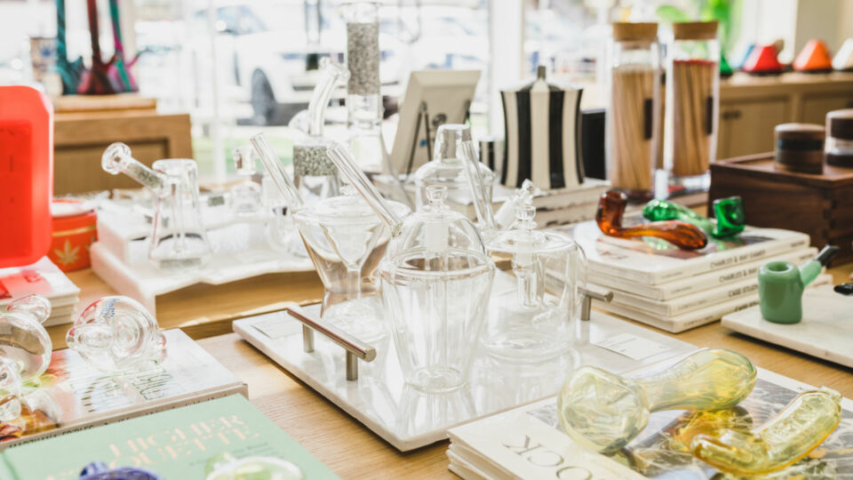 The elevated experience offers a selection of premium glass accessories from different brands and artists.