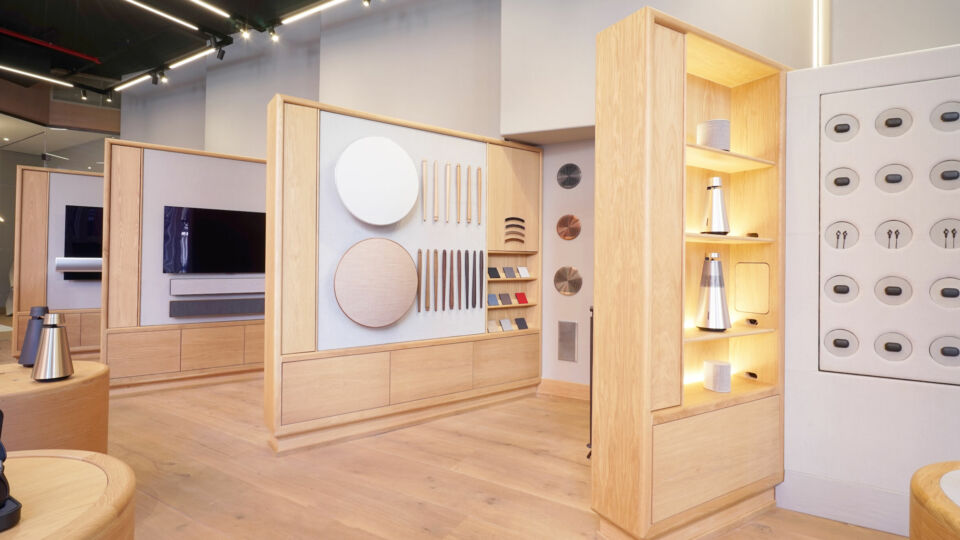 The design plays off of Bang & Olufsen's product offering, characterized by a combination of sound, timeless design and craftsmanship.
