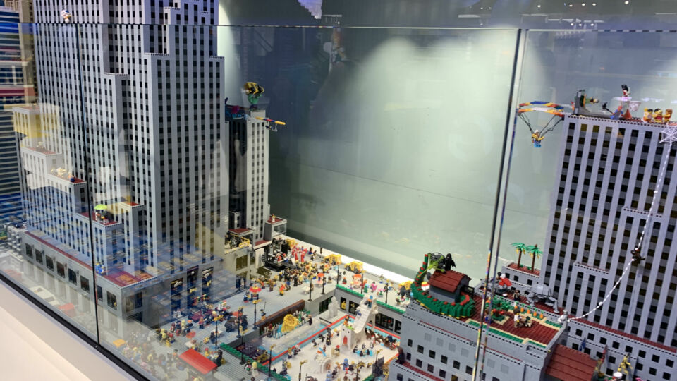 Hyper-detailed miniature version of Rockefeller Center just blocks away from the real thing.