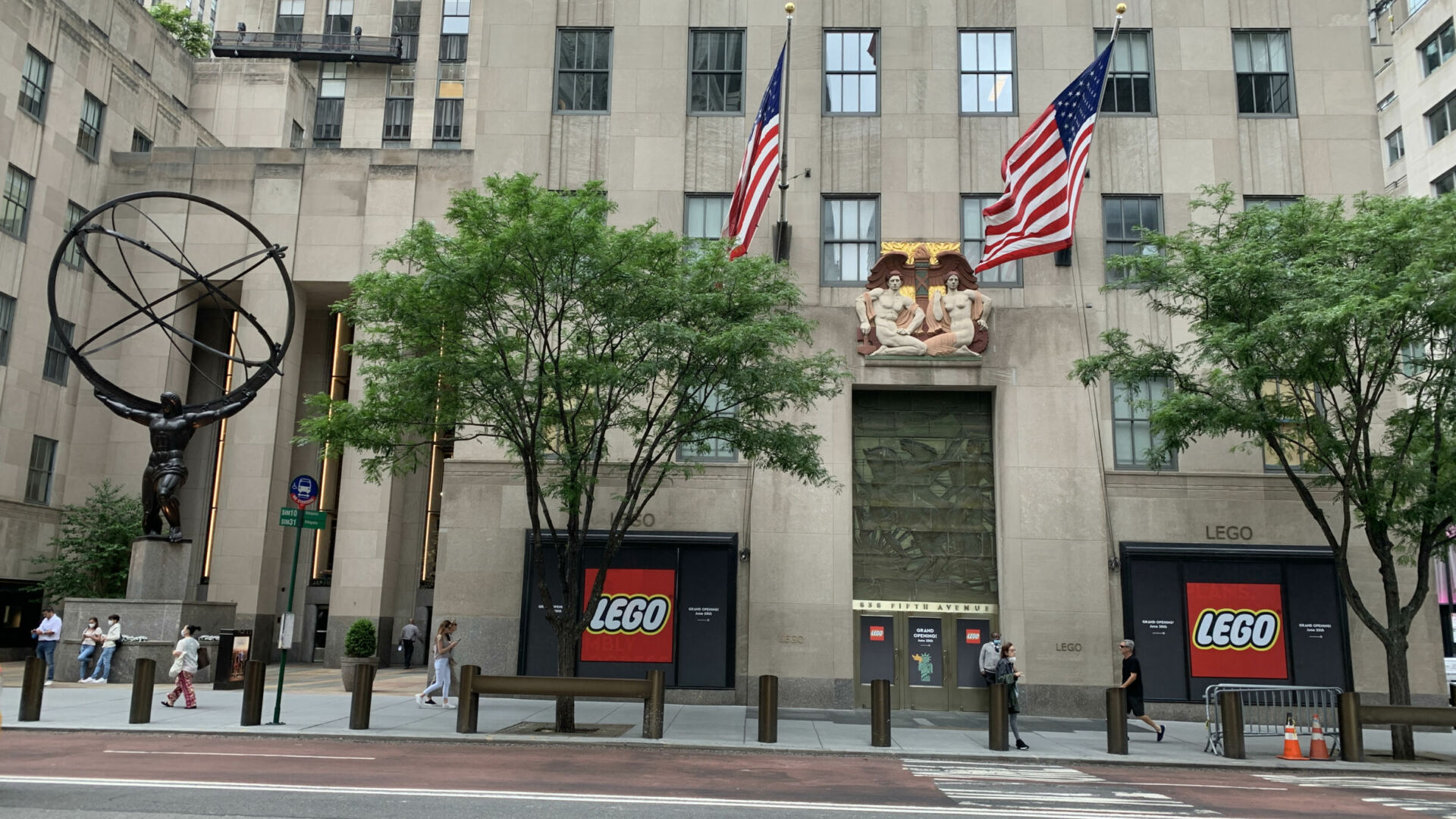 The windows at the new NYC LEGO flagship await their big unveiling June 25, 2021.