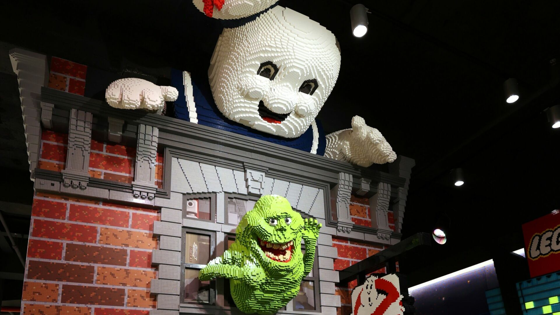 Slimer, the Stay-Puft Marshmallow and other familiar characters populate the elevator shaft and stairwell. (Photo by Cindy Ord/Getty Images)
