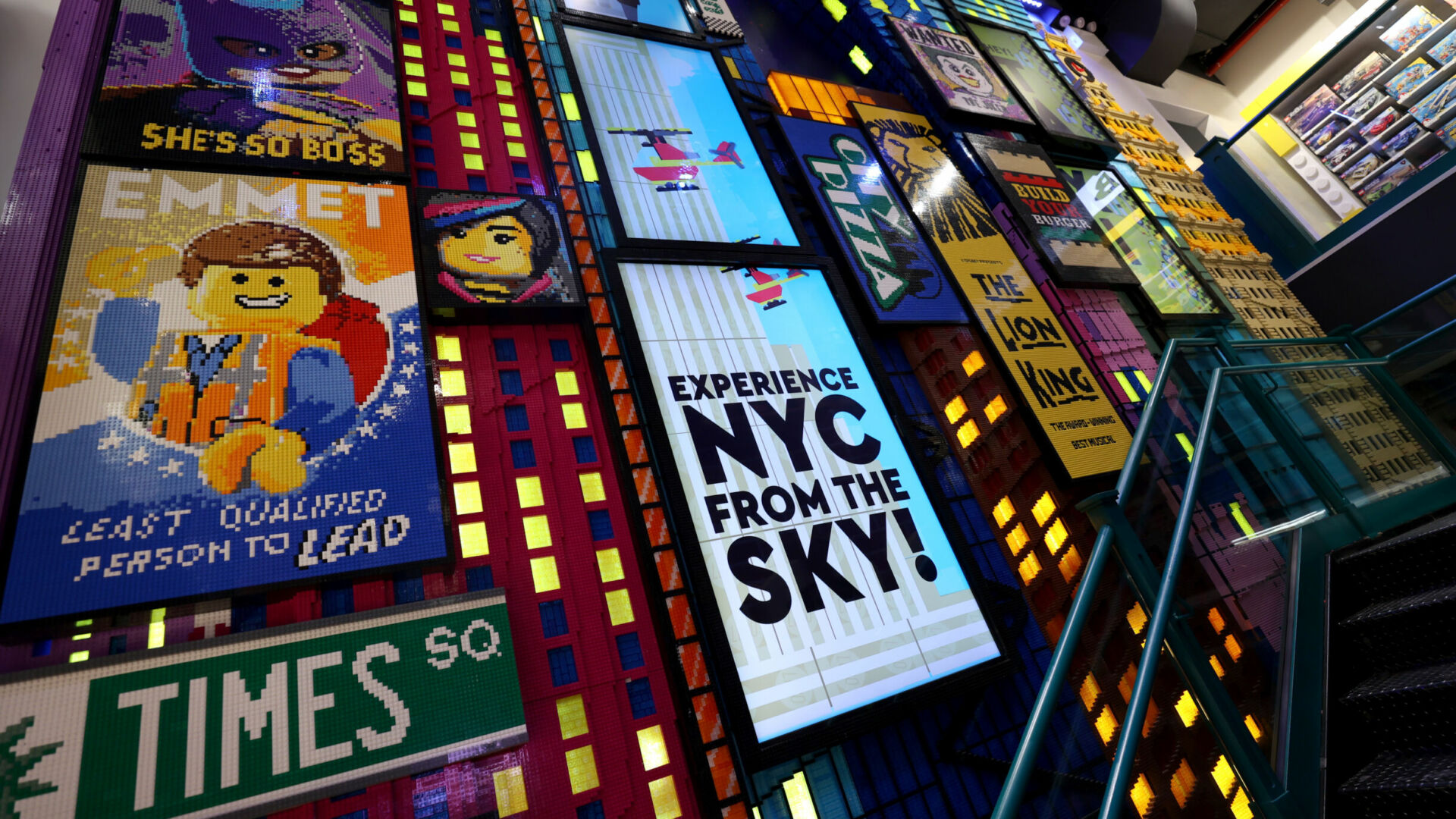 An NYC skyline-inspired mural decorates the stairwell leading to the second floor. (Photo by Cindy Ord/Getty Images)