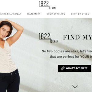 1822 Denim website that shows fit technology