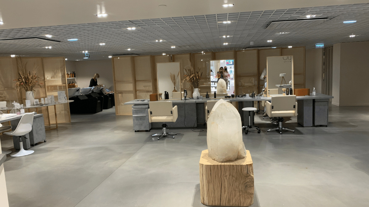"""The Samaritaine Beauty Studio, described as a """"temple to clean beauty"""" and offering a full range of services from pedicures to haircuts."""