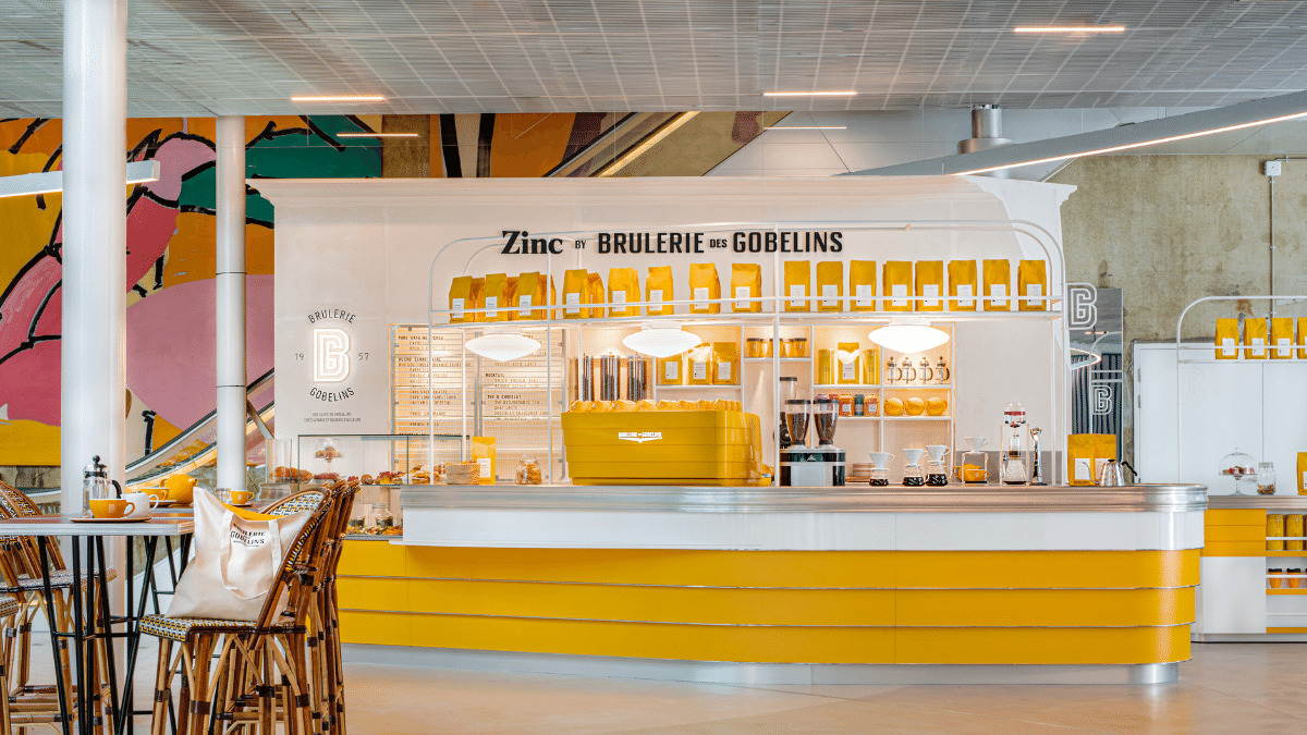 Zinc cafe, offering coffee and pastries, alongside the Perrotin art gallery.