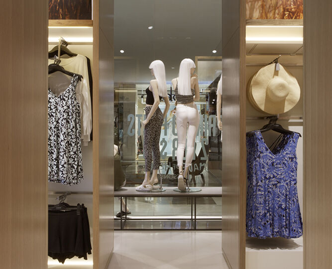 The innovative display approach manages to create a clean, minimalist aesthetic while also boosting in-store inventory.