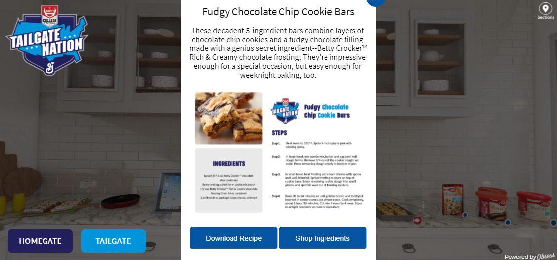 Virtual tailgate shoppable recipes