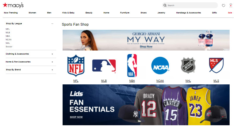 Macy's Fanatics sports gear women